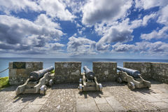Canons at mount st michael island fortress Stock Image