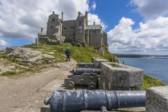 Canons at mount st michael island fortress Stock Photos
