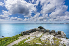 Canons at mount st michael island fortress Stock Photo