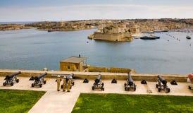 Canons protégeant le port de Valletta Images stock
