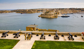 Canons Protecting Valletta Port Stock Images