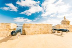 Canons of Saint Angelo Fort in Birgu , Malta.  Royalty Free Stock Images