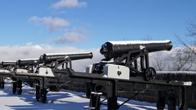 Cannons in the Snow royalty free stock image
