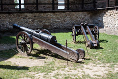 Canons in Stara Lubovna castle royalty free stock photography