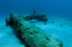 Canons sur le fond sous-marin photographie stock