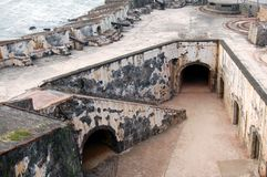 Canons. On top of the El Morro Castle in San Juan royalty free stock images
