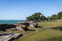 Canons van Sao Jose da Ponta Grossa Fortress - Florianopolis, Santa Catarina, Brazilië royalty-vrije stock fotografie
