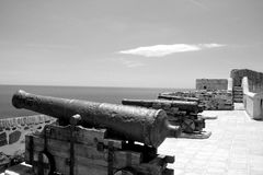 Canons on the wall of Castillo de Sohail Stock Photos