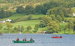 Canooing on Coniston Water. Stock Photography