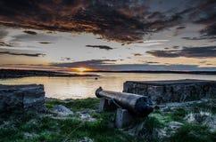Canoon i solnedgången Fotografering för Bildbyråer