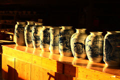 Canopic jars ,Jingdezhen China. The canopic jars on the counter at  Jingdezhen,China Stock Image