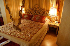 Canopied bed. ISTANBUL, TURKEY - MAY 17, 2014 -Canopied bed in Hotel Albatross,  in Istanbul, Turkey Royalty Free Stock Photo