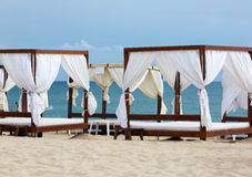 Canopies on the beach Stock Photo