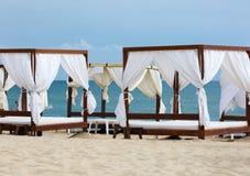 Canopies on the beach stock photo