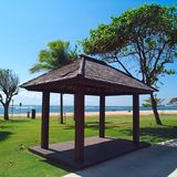 Canopies for massage on a beach in Bali stock images