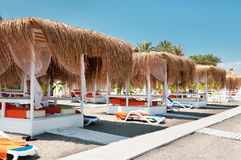 Canopies from the sun on a beach. In Turkey royalty free stock images
