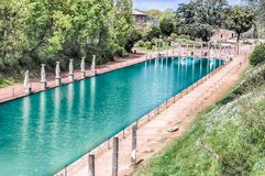 Canopus, antyczny basen w willi Adriana, Tivoli, Włochy zdjęcia stock
