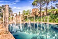 Canopus, antyczny basen w willi Adriana, Tivoli, Włochy zdjęcie royalty free