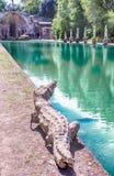 Canopus, antyczny basen w willi Adriana, Tivoli, Włochy zdjęcia royalty free