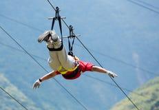 Canopy activities in Banos, Ecuador Royalty Free Stock Image
