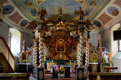 Canopy altar in the Holy Trinity Church in Czaplinek. The unique canopy altar in baroque style in the Holy Trinity Church in Czaplinek [t͡ʂaplʲinɛk] (German Stock Image