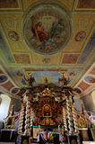 Canopy altar in the Holy Trinity Church in Czaplinek. The unique canopy altar in baroque style in the Holy Trinity Church in Czaplinek [t͡ʂaplʲinɛk] (German Stock Photos