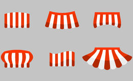 Canopy awning striped store set Stock Images