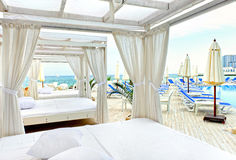 Canopy bed in beach Stock Photo