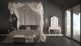 Canopy bed in minimalistic gray bedroom with big window, scandin Stock Photography