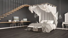 Canopy bed in minimalistic gray bedroom with home workplace, sca Royalty Free Stock Photo