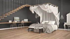 Canopy bed in minimalistic white and gray bedroom with home work Stock Photos