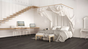 Canopy bed in minimalistic white and gray bedroom with home work Royalty Free Stock Image