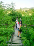 Canopy bridge and group of people Royalty Free Stock Images