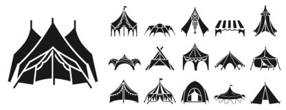 Canopy icon set, simple style vector illustration