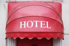 Canopy over the entrance. Red Hotel-sign canopy represents the input royalty free stock photos