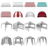 Canopy shed overhang mockup set, realistic style vector illustration