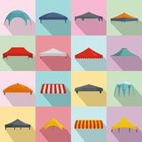 Canopy shed overhang icons set, flat style. Canopy shed overhang icons set. Flat illustration of 16 canopy shed overhang icons for web stock illustration