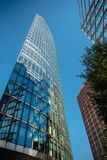Potsdamer Platz modern buildings against. A canopy at the Sony Center office location at Potsdamer Platz in downtown Berlin, Germany royalty free stock photos