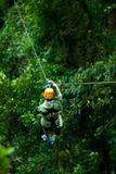 Canopy Tour. Woman on a zip line in panama canopy royalty free stock photos