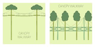 Canopy walk way. Line art style. Vector illustration stock illustration