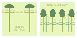 Canopy walk way. Line art style. Vector illustration Stock Photos