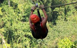 Canopy zip lining tirolesa in Costa Rica Tour Beautiful Girl. In adventure stock photo