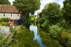 Canotage sur la rivière de Stour, Cantorbéry, R-U Images libres de droits