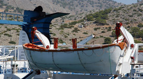 Canots de sauvetage sur un grand paquebot Photos libres de droits