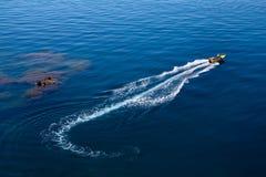 Canottaggio del motore sul mare Immagini Stock