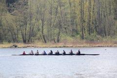 Canottaggio nel lago Burnaby Fotografia Stock