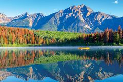 Canottaggio su Patricia Lake in Jasper National Park With Reflections fotografia stock libera da diritti
