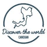 Canouan översiktsöversikt Tappning upptäcker världen Arkivfoto