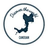 Canouan-Karte in der Weinlese entdecken die Welt Stockbilder