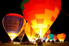 Canowindra Balloon Glow. Balloon Glow event held as part of the Canowindra Balloon Challenge Royalty Free Stock Images